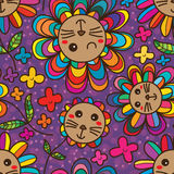Cat flower petal cute seamless pattern. This illustration is drawing cute cat with colorful petals colors in purple background seamless pattern Royalty Free Stock Photos