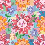 Cat flower rabbit like chrysunthemum free petal seamless pattern stock illustration