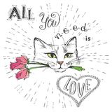 Cat with flowers and All you need is love. Hand drawn lettering good for T-shirt design or greeting card,vector illustration Stock Photo