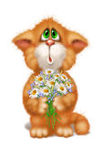 Cat and flowers. Ginger cat with a bouquet Stock Photos