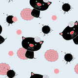 Cat and flowers. Pattern Stock Photography