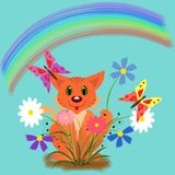 Cat, flowers and a rainbow. Illustration. Postcard with a holiday. Happy birthday royalty free illustration
