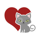Cat fluffy lovely animal red heart Royalty Free Stock Images