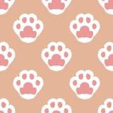Cat fluffy paw. Seamless cartoon wallpaper stock illustration