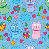 Cat fly love cute seamless pattern. This illustration is design abstract cat fly with love cute in blue color background seamless pattern Stock Image