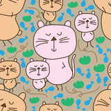 Cat follow cat seamless pattern. This illustration is design and drawing abstract small cat follow big cat way with snack fish, play with garden and rope line Stock Photography