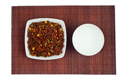 Cat food. Dishes full of cat food royalty free stock images