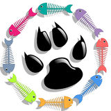 Cat food. Illustration of fish and cat paw print as a symbol of cat food Stock Photo