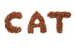 Cat food. Dry cat food isolated on a white background royalty free stock photos