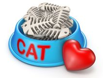 Cat food bowl and red heart 3D rendering illustration on white b. Cat food bowl and red heart 3D rendering illustration isolated on white background Royalty Free Stock Photos