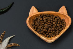 Cat food in a bowl - shape of cat Royalty Free Stock Photos