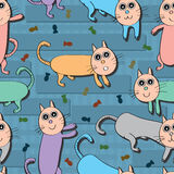 Cat Food Colorful Seamless Pattern Lizenzfreies Stockfoto