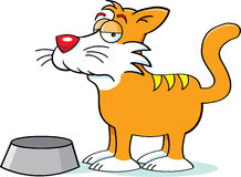 Cat with a food dish. Cartoon illustration of a cat with a food dish Royalty Free Stock Image