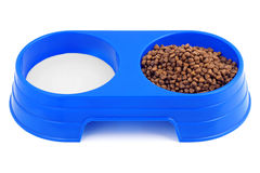 Cat food for a double bowl. Royalty Free Stock Image