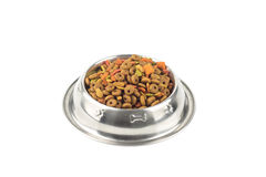 Cat food in iron bowl Stock Photography