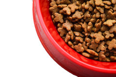 Cat food red dish Royalty Free Stock Image
