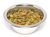 Cat Food in Silver Bowl Stock Photo