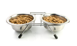 Cat Food in a Silver Bowls Royalty Free Stock Photos