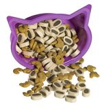 Cat food and violet box Stock Photography