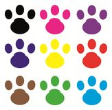 Cat footprint. In a variety of colors Royalty Free Stock Photography