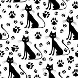 Cat and footprints pattern seamless Stock Image