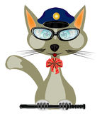 Cat in form of the police bodies. Cartoon of the cat in form of the police bodies on white background Stock Image