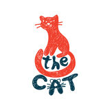Cat freehand drawing with lettering Stock Photography