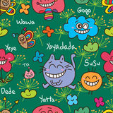 Cat friend abstract alice seamless pattern Stock Image