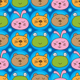 Cat frog bear rabbit head symmetry seamless pattern Stock Images