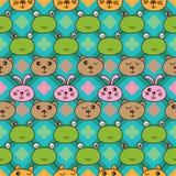 Cat frog bear rabbit horizontal seamless pattern Royalty Free Stock Photos
