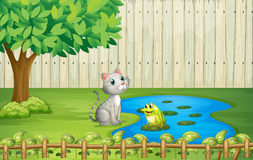 A cat and a frog inside the fence. Illustration of a cat and a frog inside the fence Stock Images