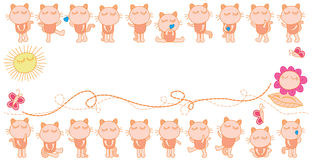 Cat fun cute set banner Royalty Free Stock Images