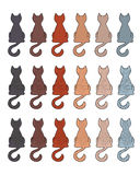 Cat fur color coats. Set of cat fur color coats. Types of tabby in different color Stock Photos