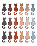 Cat fur color coats. Set of cat fur color coats. Types of tabby in different color Royalty Free Stock Image
