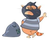 Cat Gangster Cartoon bonito Fotos de Stock
