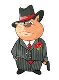 Cat Gangster Cartoon sveglia Fotografia Stock