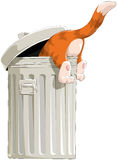The cat in garbage bin Stock Images