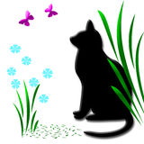 Cat in the garden. Black cat watching pink butterflies in the garden,clip-art Royalty Free Stock Image