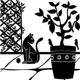 Cat in the garden. Background with a cat in the garden Stock Photography