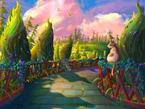 The Cat in the Garden with Fantastic, Realistic and Futuristic Style. Video Game`s Digital CG Artwork, Concept Illustration, Realistic Cartoon Style Scene stock illustration