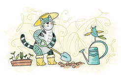 Cat - gardener Stock Photography