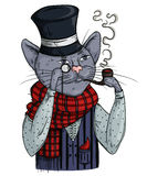 Cat gentleman in bowler hat, scarf with pipe and monocle. Anthropomorphic character. Stock Image