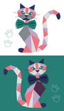 Cat from geometric figures. For appliqués with bow on white and green background with footprints Stock Images