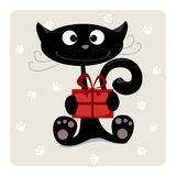 Cat with gift. Illustration - Black cat with a gift. No transparency and gradients used Royalty Free Stock Photos