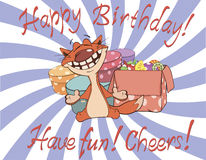 Cat and gift boxes birthday cartoon Royalty Free Stock Images