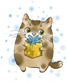 Cat with gift royalty free illustration