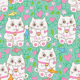 Cat gift sweet seamless pattern Royalty Free Stock Photo