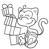 Coloring cat and gifts. Cute cat with a lot of presents. Vector black and white illustration Stock Image