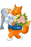 Cat gifts fish cheese flowers character cartoon style  Royalty Free Stock Images