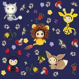 Cat, giraffe, ladybug, lion, squirrel. Cartoon characters,. Lovely cartoon characters. cat, giraffe, ladybug, lion, squirrel. Texture for the background royalty free illustration